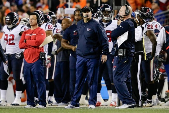 Oct 24, 2016; Denver, CO, USA; Houston Texans head coach Bill O'Brien looks on in the fourth quarter against the Denver Broncos at Sports Authority Field at Mile High. Mandatory Credit: Isaiah J. Downing-USA TODAY Sports