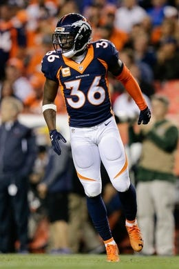 Oct 24, 2016; Denver, CO, USA; Denver Broncos cornerback Kayvon Webster (36) in the fourth quarter against the Houston Texans at Sports Authority Field at Mile High. Mandatory Credit: Isaiah J. Downing-USA TODAY Sports