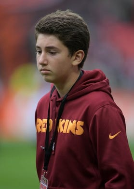 Oct 30, 2016; London, United Kingdom; Gerry Snyder (the son of Washington Redskins owner Daniel Snyder) attends  game 17 of the NFL International Series against the Cincinnati Bengals at Wembley Stadium. The Redskins and Bengals tied 27-27 tie. Mandatory Credit: Kirby Lee-USA TODAY Sports