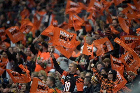 Oct 30, 2016; London, United Kingdom; Fans wave Cincinnati Bengals flags during game 17 of the NFL International Series against the Washington Redskins at Wembley Stadium. Mandatory Credit: Kirby Lee-USA TODAY Sports