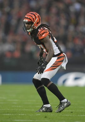 Oct 30, 2016; London, United Kingdom; Cincinnati Bengals cornerback Dre Kirkpatrick (27) during game 17 of the NFL International Series against the Washington Redskins at Wembley Stadium. The Redskins and Bengals tied 27-27 tie. Mandatory Credit: Kirby Lee-USA TODAY Sports