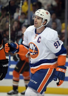 November 22, 2016; Anaheim, CA, USA;  New York Islanders center John Tavares (91) celebrates his goal scored against the Anaheim Ducks during the first period at Honda Center. Mandatory Credit: Gary A. Vasquez-USA TODAY Sports