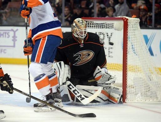 November 22, 2016; Anaheim, CA, USA;  Anaheim Ducks goalie Jonathan Bernier (1) allows a goal scored by New York Islanders left wing Josh Bailey (12) during the first period at Honda Center. Mandatory Credit: Gary A. Vasquez-USA TODAY Sports
