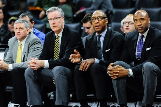 Dec 5, 2016; Iowa City, IA, USA; Iowa Hawkeyes assistant coaches Kirk Speraw (left) and Sherman Dillard (right center) and Andrew Francis (right) look on with head coach Fran McCaffery (left center) during the second half against the Stetson Hatters at Carver-Hawkeye Arena. Iowa won 95-68. Mandatory Credit: Jeffrey Becker-USA TODAY Sports