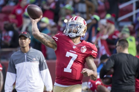 January 1, 2017; Santa Clara, CA, USA; San Francisco 49ers quarterback Colin Kaepernick (7) warms up before the game against the Seattle Seahawks at Levi's Stadium. Mandatory Credit: Kyle Terada-USA TODAY Sports