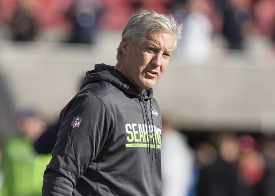 Jan 1, 2017; Santa Clara, CA, USA; Seattle Seahawks head coach Pete Carroll before the start of the game against the San Francisco 49ers at Levis Stadium. Mandatory Credit: Neville E. Guard-USA TODAY Sports