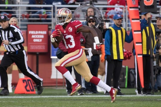 January 1, 2017; Santa Clara, CA, USA; San Francisco 49ers wide receiver Aaron Burbridge (13) during the second quarter against the Seattle Seahawks at Levi's Stadium. The Seahawks defeated the 49ers 25-23. Mandatory Credit: Kyle Terada-USA TODAY Sports