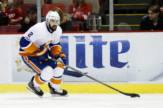 Feb 3, 2017; Detroit, MI, USA; New York Islanders defenseman Nick Leddy (2) skates with the puck in the second period against the Detroit Red Wings at Joe Louis Arena. Mandatory Credit: Rick Osentoski-USA TODAY Sports