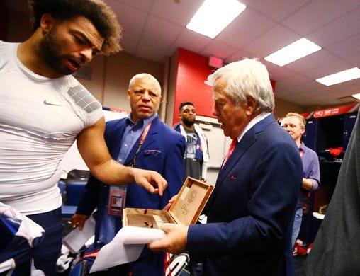 Feb 5, 2017; Houston, TX, USA; New England Patriots owner Robert Kraft hands out victory cigars in the locker room after defeating the Atlanta Falcons during Super Bowl LI at NRG Stadium. Mandatory Credit: Mark J. Rebilas-USA TODAY Sports