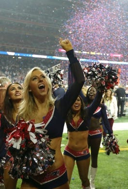 Feb 5, 2017; Houston, TX, USA; New England cheerleaders celebrate after a victory against  the Atlanta Falcons in Super Bowl LI at NRG Stadium. Mandatory Credit: Matthew Emmons-USA TODAY Sports