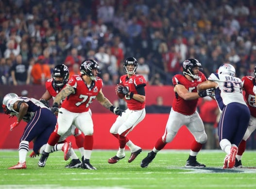 Feb 5, 2017; Houston, TX, USA; Atlanta Falcons quarterback Matt Ryan (2) against the New England Patriots during Super Bowl LI at NRG Stadium. Mandatory Credit: Mark J. Rebilas-USA TODAY Sports