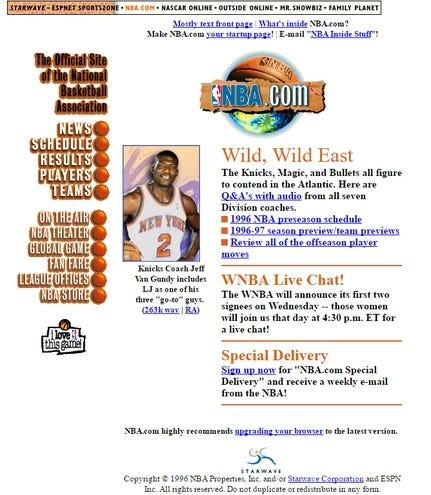 The NBA com website through the years   HoopsHype