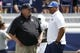 Aug 26, 2017; Provo, UT, USA; Portland State Vikings head coach Bruce Barnum, left and Brigham Young Cougars head coach Kalani Sitake get together prior to their game at LaVell Edwards Stadium. Mandatory Credit: Jeff Swinger-USA TODAY Sports