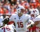 Sep 2, 2017; Champaign, IL, USA; Ball State Cardinals quarterback Riley Neal (15) sets up to pass during the 1st Quarter against the Illinois Fighting Illini at Memorial Stadium. Mandatory Credit: Mike Granse-USA TODAY Sports