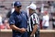 Sep 2, 2017; Norman, OK, USA; UTEP Miners head coach Sean Kugler greets an official prior to action against the Oklahoma Sooners at Gaylord Family - Oklahoma Memorial Stadium. Mandatory Credit: Mark D. Smith-USA TODAY Sports