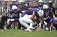 Sep 2, 2017; Evanston, IL, USA; Nevada Wolf Pack running back Jaxson Kincaide (5) is tackled by Northwestern Wildcats defensive lineman Sam Miller (91) during the first quarter at Ryan Field. Mandatory Credit: Caylor Arnold-USA TODAY Spor