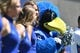 Sep 2, 2017; Colorado Springs, CO, USA; General view of the Air Force Falcons mascot the Bird stands along side the cheerleading squad in the first quarter against the Virginia Military Keydets at Falcon Stadium. Mandatory Credit: Ron Chenoy-USA TODAY Sports