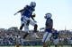 Sep 2, 2017; Colorado Springs, CO, USA; Air Force Falcons wide receiver Geraud Sanders (7) celebrates his touchdown reception in the second quarter against the Virginia Military Keydets at Falcon Stadium. Mandatory Credit: Ron Chenoy-USA TODAY Sports