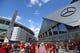 Sep 2, 2017; Atlanta, GA, USA; Fans walk outside the former Georgia Dome (left) and the Mercedes-Benz Stadium before the Chick-fil-A Kickoff game between Alabama and Florida State. Mandatory Credit: Adam Hagy-USA TODAY Sports