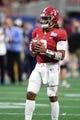 Sep 2, 2017; Atlanta, GA, USA; Alabama Crimson Tide quarterback Jalen Hurts (2) wears wrist bands drawing attention to the victims of Hurricane Harvey as he warms up before a game against the Florida State Seminoles at Mercedes-Benz Stadium. Mandatory Credit: John David Mercer-USA TODAY Sports