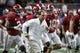 Sep 2, 2017; Atlanta, GA, USA;  Alabama Crimson Tide head coach Nick Saban leads his team onto the field prior to facing the Florida State Seminoles at Mercedes-Benz Stadium. Mandatory Credit: Brett Davis-USA TODAY Sports