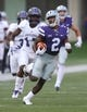 Sep 2, 2017; Manhattan, KS, USA; Kansas State Wildcats defensive back D.J. Reed (2) runs away from Central Arkansas Bears wide receiver Lester Wells (17) during the opening kick-off at Bill Snyder Family Stadium. Mandatory Credit: Scott Sewell-USA TODAY Sports