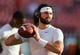Sep 3, 2017; Landover, MD, USA; West Virginia Mountaineers quarterback Will Grier (7) warms up prior to their game against the Virginia Tech Hokies at FedEx Field. Mandatory Credit: Ben Queen-USA TODAY Sports