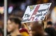 Sep 3, 2017; Landover, MD, USA; A West Virginia Mountaineers fan holds up a sign during the first quarter at FedEx Field. Mandatory Credit: Ben Queen-USA TODAY Sports
