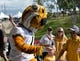 Sep 9, 2017; Columbia, MO, USA;  Missouri Tigers mascot Truman high fives fans while walking into the stadium during the traditional Tiger Walk before the game against the South Carolina Gamecocks at Faurot Field. Mandatory Credit: Denny Medley-USA TODAY Sports