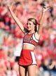 Sep 9, 2017; Raleigh, NC, USA; A North Carolina State Wolfpack cheerleader performs prior to a game against the Marshall Thundering Herd at Carter-Finley Stadium. Mandatory Credit: Rob Kinnan-USA TODAY Sports