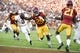 Sep 9, 2017; Los Angeles, CA, USA; Southern California Trojans running back Ronald Jones II (25) runs in a touchdown against the Stanford Cardinal during the first quarter at Los Angeles Memorial Coliseum. Mandatory Credit: Kelvin Kuo-USA TODAY Sports