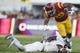 Sep 9, 2017; Los Angeles, CA, USA; Southern California Trojans running back Vavae Malepeai (29) runs the ball while being tackled by Stanford Cardinal safety Brandon Simmons (2) during the first quarter at Los Angeles Memorial Coliseum. Mandatory Credit: Kelvin Kuo-USA TODAY Sports