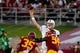 Sep 9, 2017; Los Angeles, CA, USA; Stanford Cardinal quarterback Keller Chryst (10) passes against USC Trojans linebacker Cameron Smith (35) and Trojans defensive tackle Rasheem Green (94) during a NCAA football game at Los Angeles Memorial Coliseum. Mandatory Credit: Kirby Lee-USA TODAY Sports