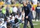 Sep 10, 2017; Green Bay, WI, USA; Seattle Seahawks head coach Pete Carroll greets players prior to the game against the Green Bay Packers at Lambeau Field. Mandatory Credit: Jeff Hanisch-USA TODAY Sports