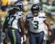 Sep 10, 2017; Green Bay, WI, USA; Seattle Seahawks quarterback Russell Wilson (3) greets running back Eddie Lacy (27) during warmups prior to the game against the Green Bay Packers at Lambeau Field. Mandatory Credit: Jeff Hanisch-USA TODAY Sports