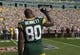 Sep 10, 2017; Green Bay, WI, USA; Green Bay Packers tight end Martellus Bennett (80) holds his fist in the air during the national anthem prior to the game against the Seattle Seahawks at Lambeau Field. Mandatory Credit: Jeff Hanisch-USA TODAY Sports