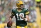 Sep 10, 2017; Green Bay, WI, USA; Green Bay Packers quarterback Aaron Rodgers (12) looks to throw a pass during the first quarter against the Seattle Seahawks at Lambeau Field. Mandatory Credit: Jeff Hanisch-USA TODAY Sports