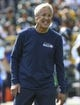 Sep 10, 2017; Green Bay, WI, USA;   Seattle Seahawks head coach Pete Carroll watches the team warm up before game against the Green Bay Packers at Lambeau Field. Mandatory Credit: Benny Sieu-USA TODAY Sports