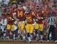 Sep 9, 2017; Los Angeles, CA, USA; Southern California Trojans wide receiver Tyler Vaughns (21), quarterback Sam Darnold (14), running back Ronald Jones II (25) and wide receiver Joseph Lewis IV (1) celebrate after a touchdown in the first quarter against the Stanford Cardinal during a NCAA football game at Los Angeles Memorial Coliseum. USC defeated Stanford 42-24. Mandatory Credit: Kirby Lee-USA TODAY Sports