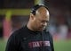 Sep 9, 2017; Los Angeles, CA, USA; Stanford Cardinal head coach David Shaw reacts during a NCAA football game against the Southern California Trojans at Los Angeles Memorial Coliseum. USC defeated Stanford 42-24. Mandatory Credit: Kirby Lee-USA TODAY Sports