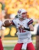 Sep 2, 2017; Waco, TX, USA; Liberty Flames quarterback Stephen Calvert (12) in action during the game against the Baylor Bears at McLane Stadium. The Flames defeat the Bears 48-45. Mandatory Credit: Jerome Miron-USA TODAY Sports