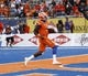 Sep 14, 2017; Boise, ID, USA; Boise State Broncos quarterback Montell Cozart (3) runs in for a touchdown   during the first half versus the New Mexcio Lobos at Albertsons Stadium. Mandatory Credit: Brian Losness-USA TODAY Sports