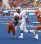 Sep 14, 2017; Boise, ID, USA; New Mexico Lobos quarterback Lamar Jordan (13) runs with the football during the first half versus the Boise State Broncos at Albertsons Stadium. Mandatory Credit: Brian Losness-USA TODAY Sports