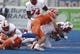 Sep 14, 2017; Boise, ID, USA; Boise State Broncos linebacker Leighton Vander Esch (38) knocks the ball loose from New Mexico Lobos running back Richard McQuarley (3)  during the first half at Albertsons Stadium. Mandatory Credit: Brian Losness-USA TODAY Sports
