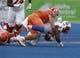 Sep 14, 2017; Boise, ID, USA; Boise State Broncos linebacker Leighton Vander Esch (38) strips the ball from New Mexico Lobos running back Richard McQuarley (3) during the first half at Albertsons Stadium. Mandatory Credit: Brian Losness-USA TODAY Sports