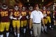 Sep 9, 2017; Los Angeles, CA, USA; Southern California Trojans prepare to be introduced prior to the first quarter against the Stanford Cardinal at Los Angeles Memorial Coliseum. Mandatory Credit: Kelvin Kuo-USA TODAY Sports