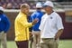 Sep 16, 2017; Minneapolis, MN, USA; Minnesota Golden Gophers head coach P.J. Fleck and Middle Tennessee Blue Raiders head coach Rick Stockstill talk during pregame at TCF Bank Stadium. Mandatory Credit: Jesse Johnson-USA TODAY Sports