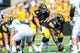 Sep 16, 2017; Iowa City, IA, USA; Iowa Hawkeyes quarterback Nathan Stanley (4) looks over center during the first quarter against the North Texas Mean Green at Kinnick Stadium. Mandatory Credit: Jeffrey Becker-USA TODAY Sports