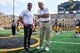 Sep 16, 2017; Iowa City, IA, USA; North Texas Mean Green head coach Seth Littrell (left) and Iowa Hawkeyes head coach Kirk Ferentz (right) talk before a game at Kinnick Stadium. Mandatory Credit: Jeffrey Becker-USA TODAY Sports