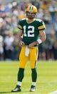 Sep 10, 2017; Green Bay, WI, USA; Green Bay Packers quarterback Aaron Rodgers (12) during warmups prior to the game against the Seattle Seahawks at Lambeau Field. Mandatory Credit: Jeff Hanisch-USA TODAY Sports